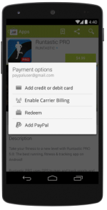 Noul update Google Play Store 4.8.19 introduce posibilitatea platii prin Paypal
